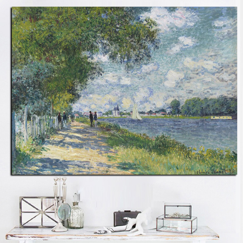 HD Print Claude Monet Seine in Argenteuil Impressionist Landscape Oil Painting on Canvas Art Poster Wall Picture for Living Room