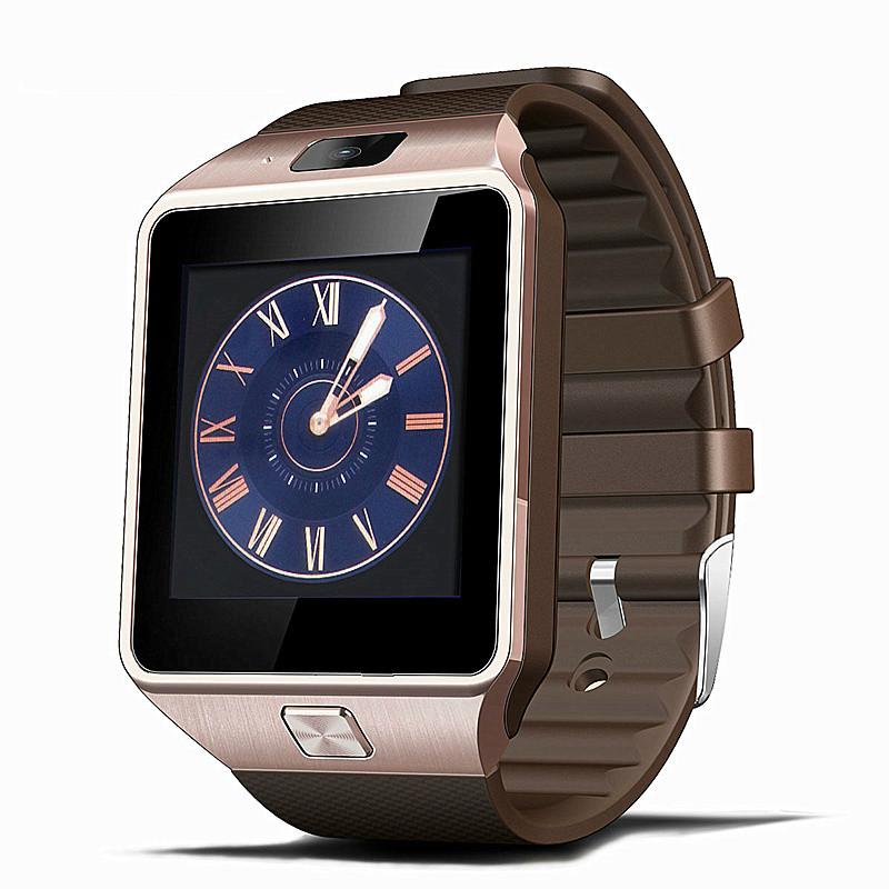 Prix pour Smart Watch Horloge Avec Fente Pour Carte Sim Push Message Bluetooth Connectivité Android Téléphone Mieux Que DZ09 Smartwatch Hommes Montre