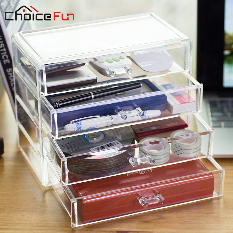 choicefun office contain 4 drawers acrylic drawer office desk organizer large storage box 100 guaranty acrylic office desk