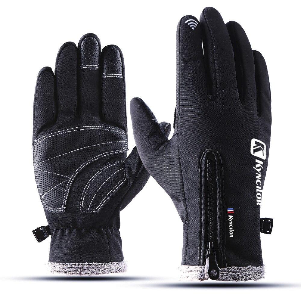 Espesar caliente ciclismo guante impermeable a prueba de viento de los hombres bicicleta guantes dedo completo pantalla táctil guantes luva ciclismo para hombres y mujeres