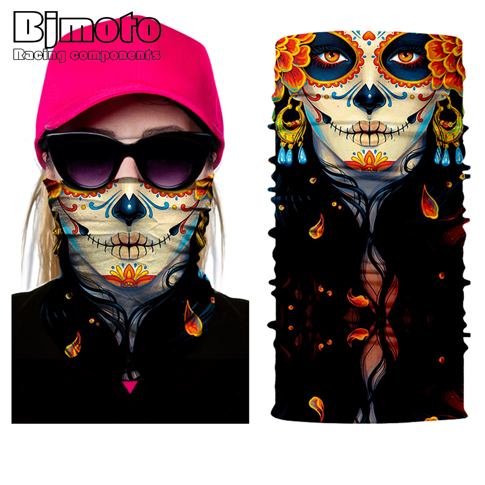 Men women Skull Face Bandana Ghost Clown Face Shield Halloween Multifunctional Bandana Headwears Magic Seamless Bandana bandana husky bandana