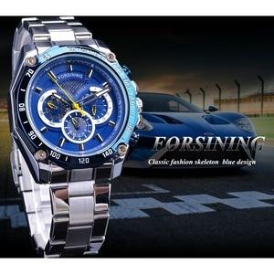 Image 3 - Forsining 2019 nowy niebieski projekt kompletna kalendarz 3 małe pokrętło srebrny ze stali nierdzewnej automatyczne mechaniczne zegarki dla mężczyzn zegar