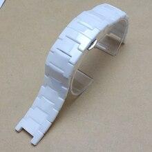 Новый стильный Высокое качество Керамический Белый Ремешок Для Часов Браслет в форме алмазов часы мужские женские аксессуары 20 мм вогнутой 11 мм продвижение