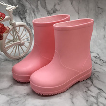 Children Boys Girls Rainboots Solid Kids Waterproof Rainshoes Infant Baby Toddler High Quality Rain Boots Pink Yellow Sky Blue