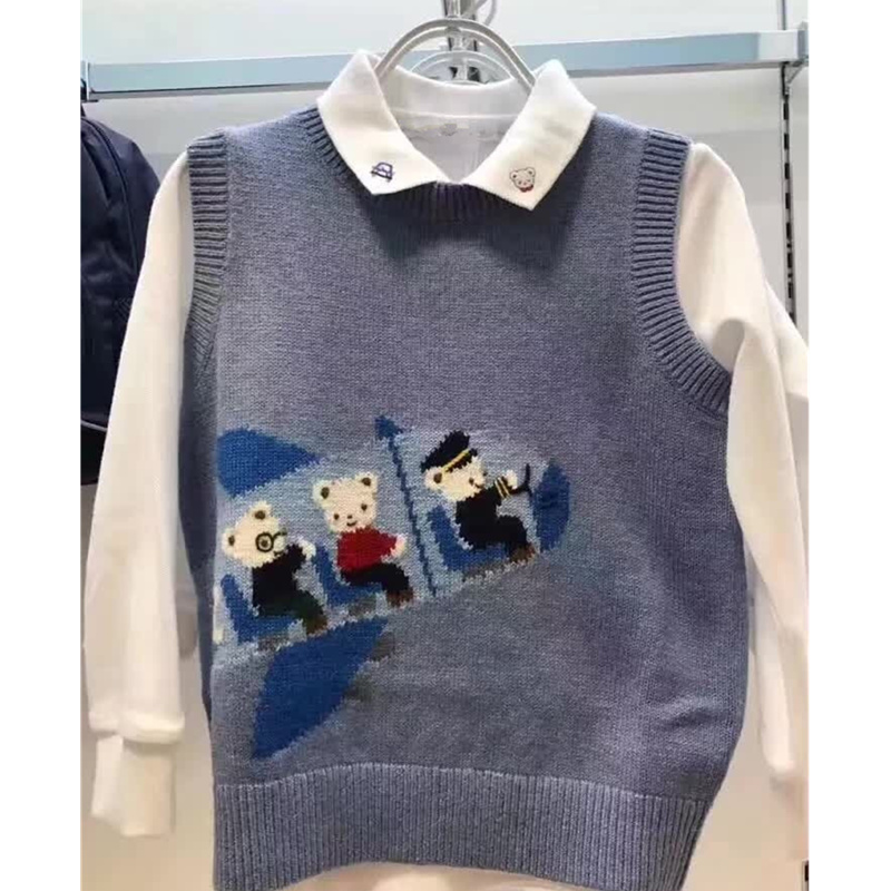 Baby Boys Girls Wool Sweater Soft Vest Cartoon Rabbit Knitted Cute Pink Blue Toddler Baby Sweater Boutique Kids Clothes