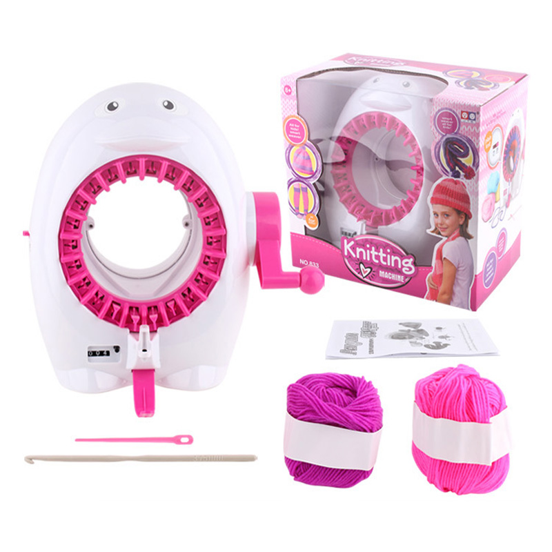 Children Knitting Loom Machine Penguin Scarf Hat Smart Knitter Toy Playset Weaver Kids Educational Toys With Yarn Balls