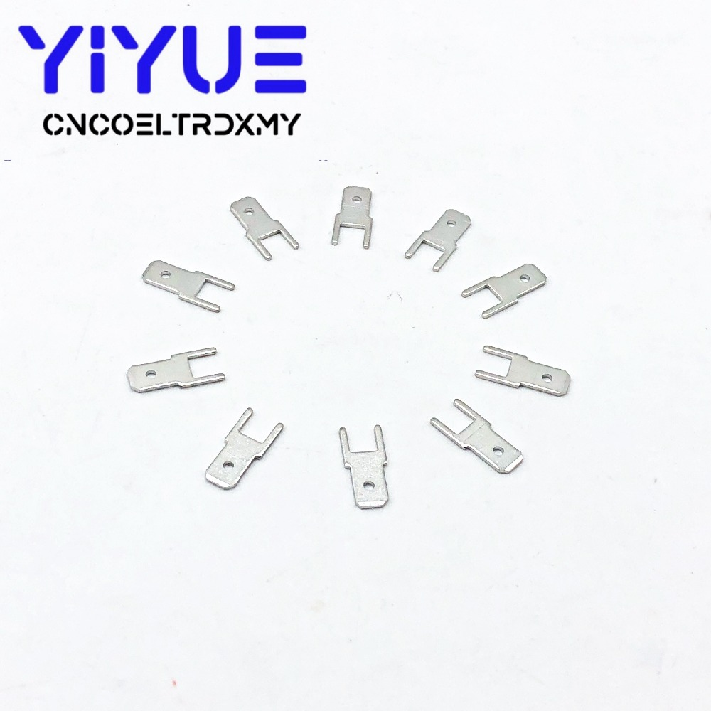 100Pcs 4.8 Inserts Plug male Terminal 250 PCB Solder lug thickness 0.8 two legs ,PCB welding sheet