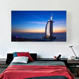 Картина на холсте, независимая печать, украшения, ночная картина Парижа, Шанхая, Лондона, Дубаи, Сингапура, знаменитые строительные фотографии
