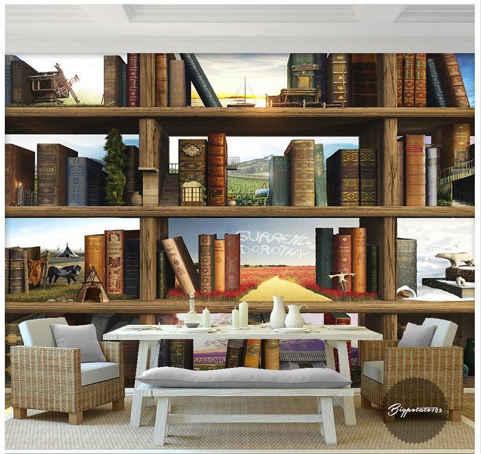 d mural wallpaper d murales de papel tapiz para paredes d estantera de madera estantes de libros libros de estudio fondo de