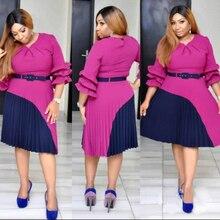 H&D african dresses for women bazin riche africa kanga clothing pleated dress splicing sale 2019 long sleeve skirt