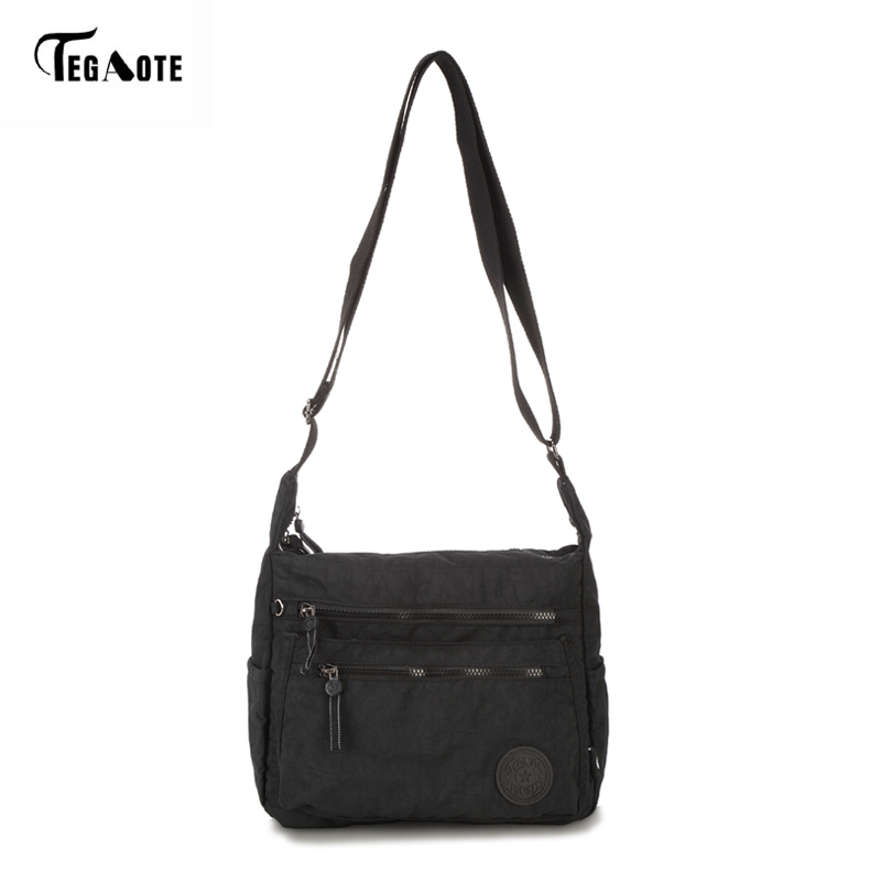TEGAOTE Waterproof Nylon Women Messenger Bags Small Purse Shoulder Bag Female Crossbody Bags Handbags High Quality Bolsa Tote women messenger bags leather clutch purse casual small shoulder bag for girl female tote handbags wristlet bolsa tote hand bag