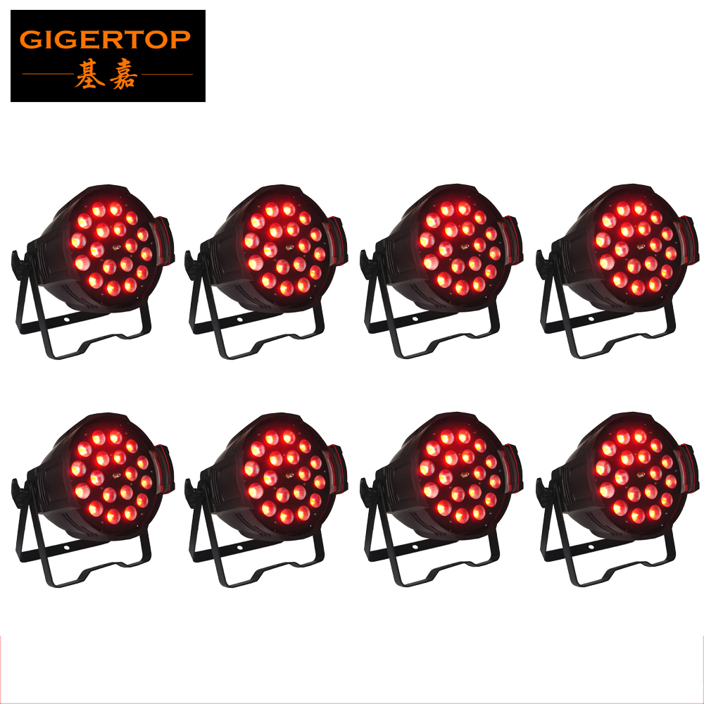 Freeshipping 8pcs Zoom Casting Aluminum Led Par Light 18 x 18W 6in1 Color Water wave Lens Smooth Wash Effect RGBWA UV Tyanshine