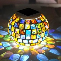 1pcs Rechargeable night light mosaic glass outdoor solar powered ball garden stake color changing lawn light