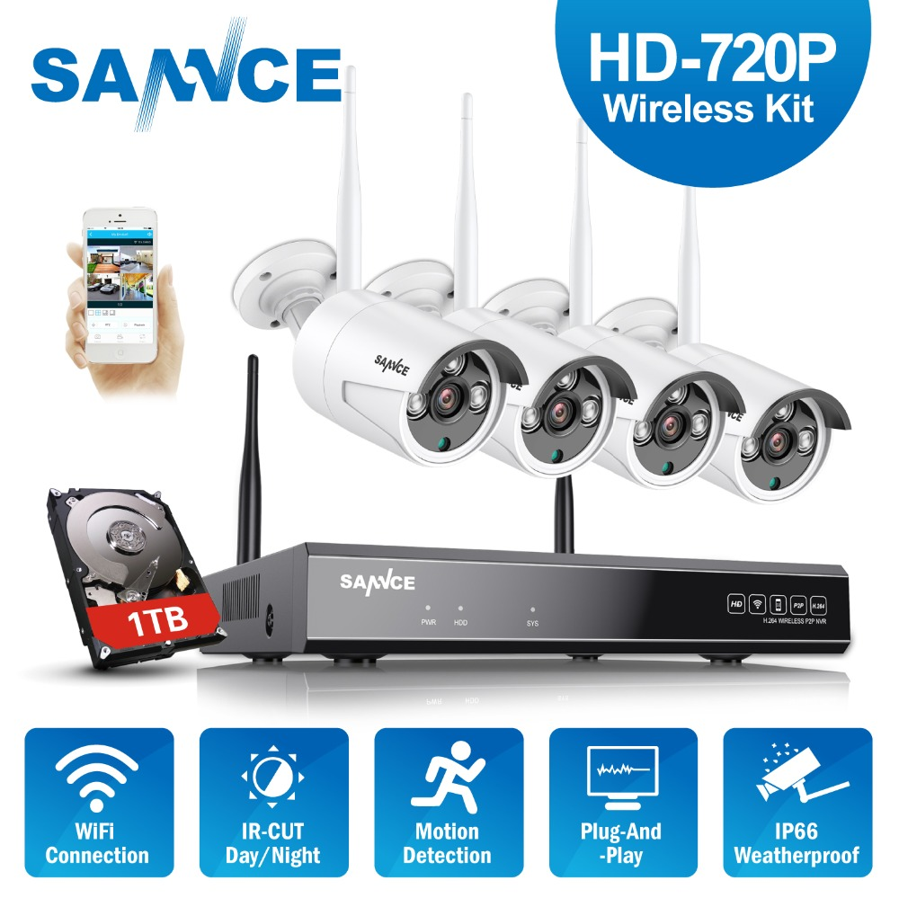 SANNCE 4CH 720P Wireless NVR IP Camera System HD IR Outdoor Wifi Home Security CCTV Set Video Surveillance CCTV KIT 1TB HDD 4ch nvr 1tb hdd hard disk 4pcs 1 0mp ip camera ir weatherproof outdoor 720p cctv camera security system surveillance kit
