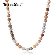 Trendsmax Unique 8mm Natural Chrysanthemum Beads Mixed Stainless Steel Charm Beads Necklace for Men Women Jewelry Gift TNB00601(Hong Kong,China)