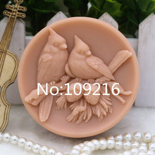 New Product!!1pcs Lovers Birds (zx277) Food Grade Silicone Handmade Soap Mold Crafts DIY Mould