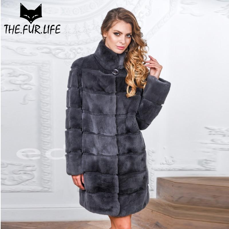 Luxueux Réel Manteau De Fourrure Nature Rex De Fourrure De Lapin Veste Avec Chaud Col montant Mince Fourrure Manteaux D'hiver Vêtements Vêtements Femme