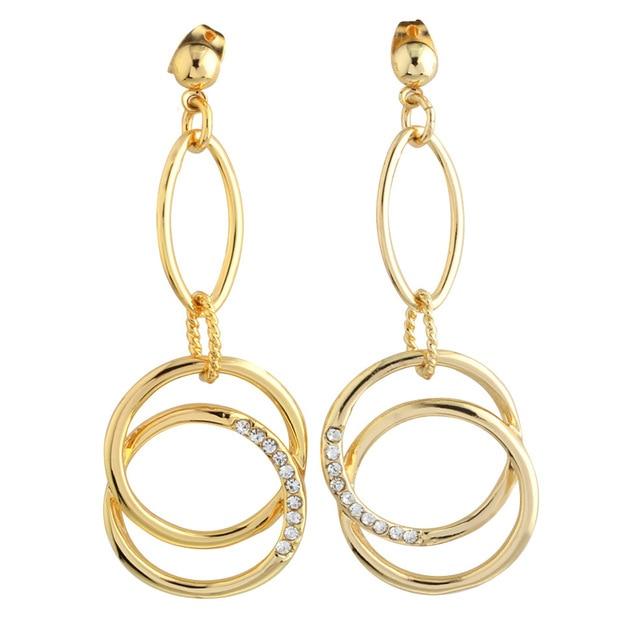 c2bef9864673 ⓪Nueva llegada pendientes largos moda joyería bijoux Femme círculo ...
