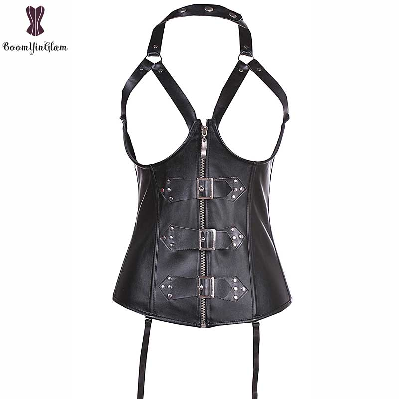 High quality rivets and buckles decorated zipper sexy bustier waist trainer waist cincher halterneck cupless leather corset 820