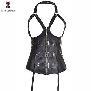 High quality rivets and buckles decorated zipper sexy bustier waist trainer waist cincher halterneck cupless leather corset 820 Bustiers & Corsets