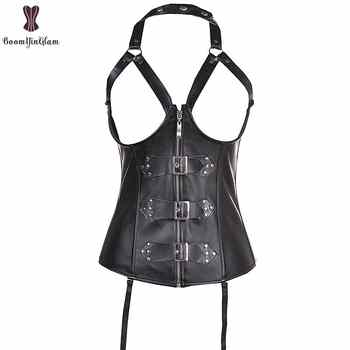 High quality rivets and buckles decorated zipper sexy bustier waist trainer waist cincher halterneck cupless leather corset 820 - DISCOUNT ITEM  47% OFF All Category