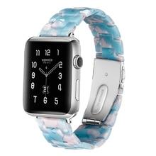 Resin Belt Watch Accessories Watchband iWatch Sky Blue Bracelet Wristband Imitation Ceramic Strap for APPLE 3/2/1 42/38mm