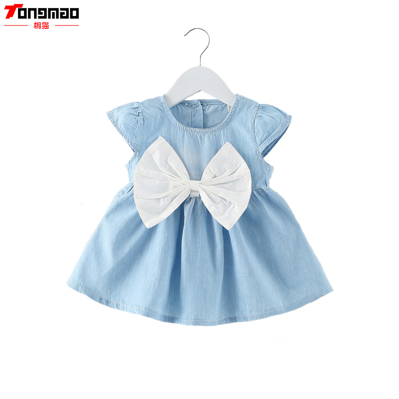 Cute Baby Girls Dress Jeans Dzieci Kids Baby Denim Sukienki One Piece Baby Letnia odzież Do szkoły Casual Wear Clothes Girl
