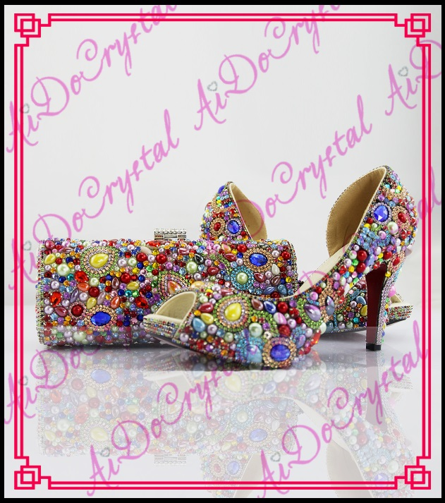 Aidocrystal elegant peep toe shoes with detachable heels colorful rhinestone evening shoes with matching bags