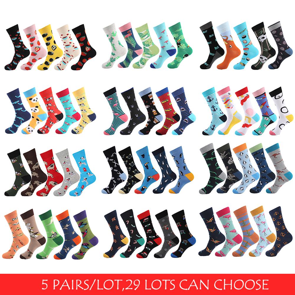 Underwear & Sleepwears New Fashion Vpm 5 Pairs/lot Colorful Mens Dress Socks Novelty Alien Animal Cactus Flag Cotton Art Funny Happy Harajuku Hip Hop Warm For Men