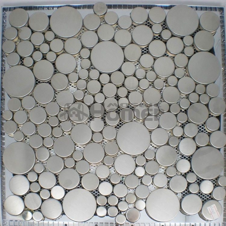 free shipping big and small round silver drawbench stainless steel mosaic kitchen backsplash tile HME8022 home improvement