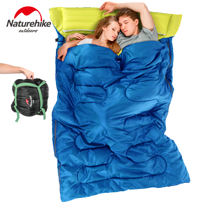 Naturehike double sleeping couple spring and summer warm winter indoor outdoor camping adult sleeping bag with pillow west biking camping sleeping bag lunch adult sleeping bag can fight double sleeping spring autumn and winter thick sleeping bag