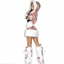Christmas Adult Coat Costume Red And White Striped Dress Belt Erotic Lingerie For Women Flannel Disfraces Eroticos Hot Sale