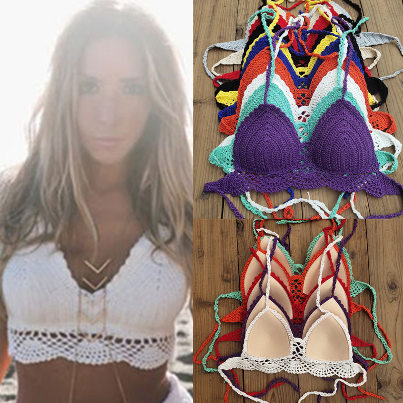 10 colores mano Crochet Bikini Top Push up Festival borla Crop Top Crochet traje de baño ropa de playa