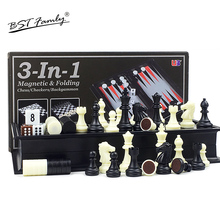 3 in 1 Chess & Checkers Backgammon Set Travel Plastic Game Magnetic Pieces Folding Checkerboard Gift BSTFAMLY I7