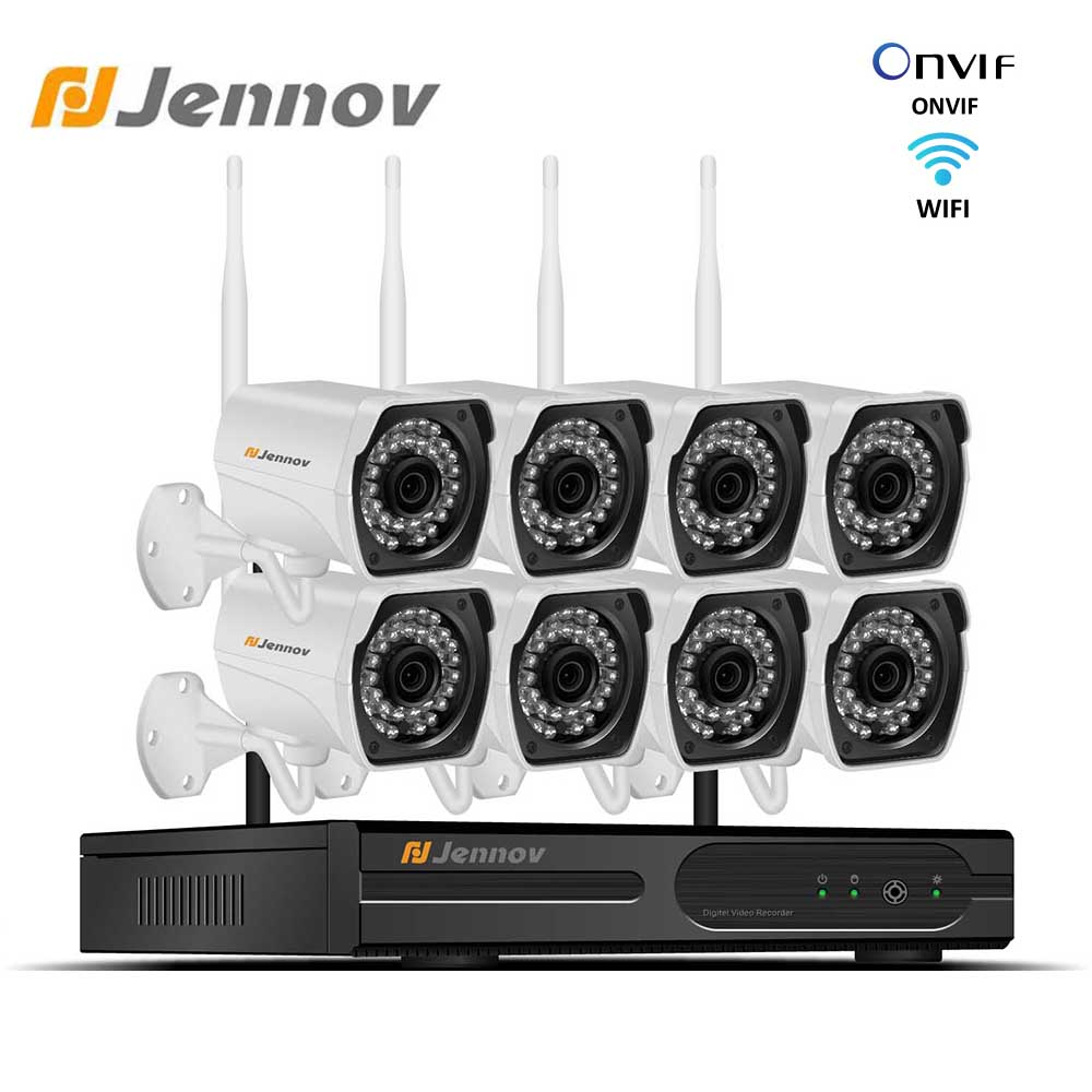 Jennov 1080P Video Surveillance Kit CCTV System NVR Wifi 2MP 8CH P2P HD Outdoor IP Camera IP66 Wireless Security Camera System