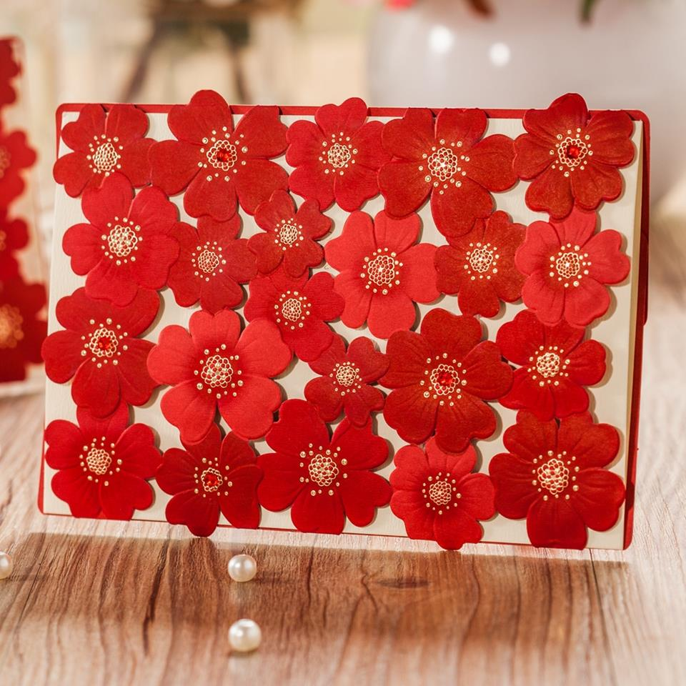 Luxurious Laser Cut Wedding Custom Invitations Cards in Pink Red ...