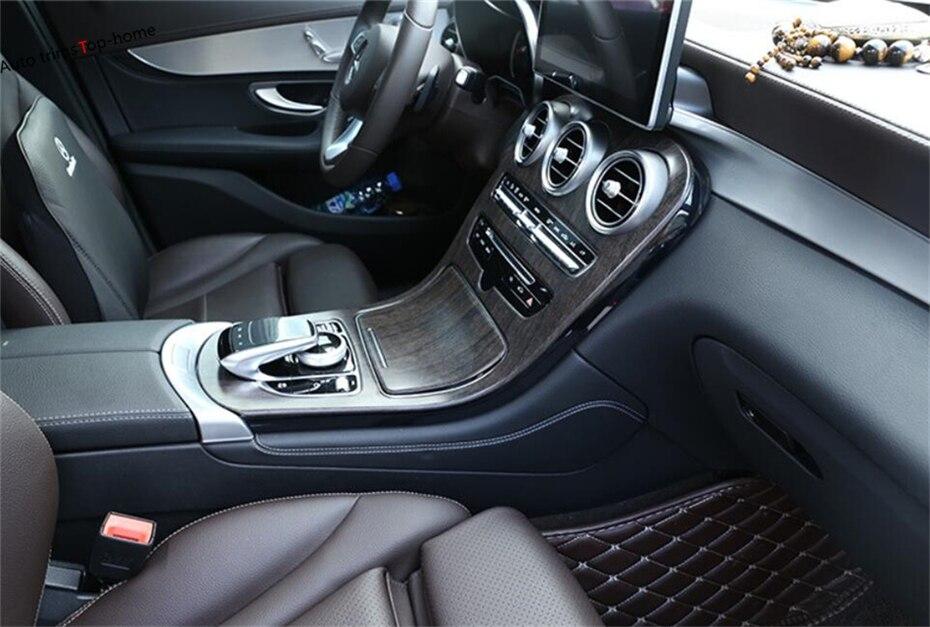 Yimaautotrims Pour Mercedes Benz CLASSE C W205 C200/GLC X253 2015-2018 ABS Intérieur Boîte de Changement de Vitesse de L'eau porte-gobelet Couverture Kit