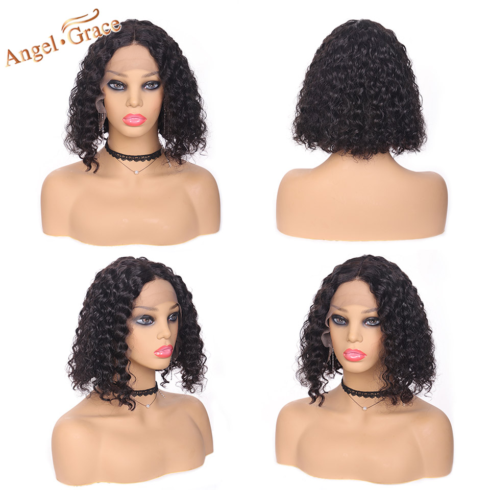 Angel Grace Hair Deep Wave Bob Lace Front Wigs Brazilian Human Hair Bob Wigs Natural Black Short Human Hair Wig For Woman