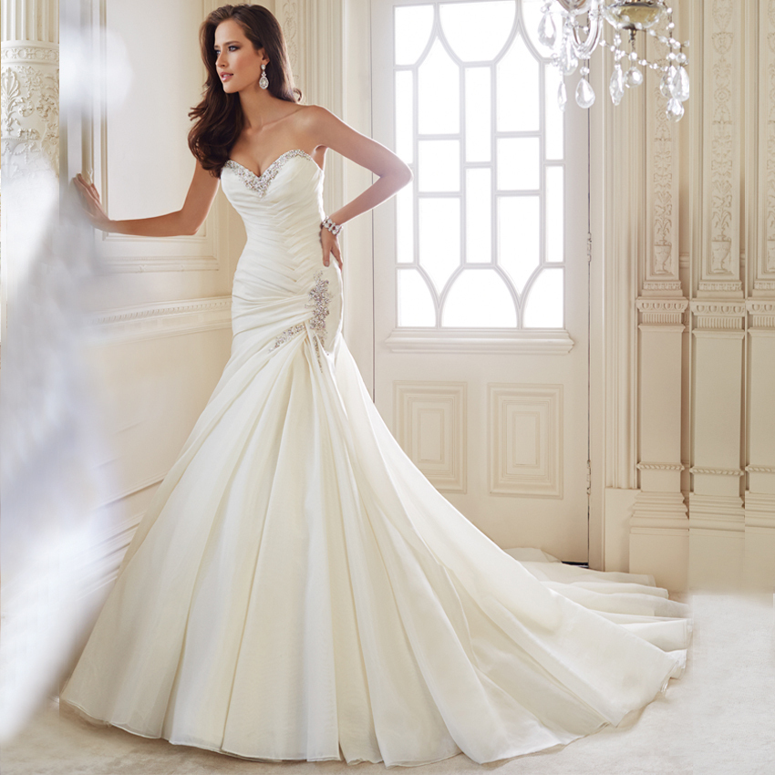 In Stock Mermaid Organza Wedding Dresses 2016 White Beading Lace Up Off The Shoulder Vestidos De