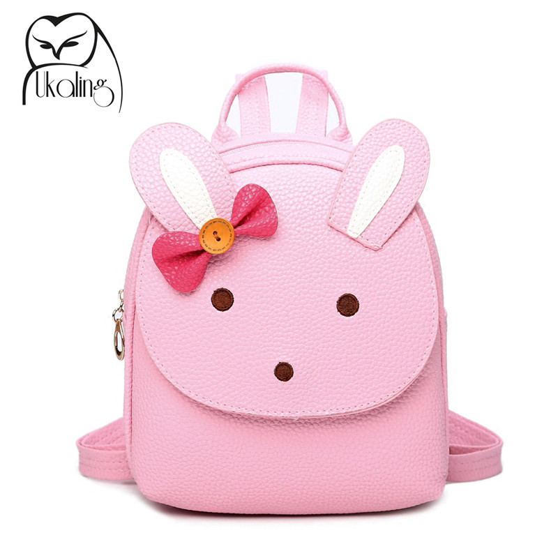UKQLING Brand Cute Cartoon Bag Small Women Backpack Children Backpacks For Teenage Girls Child School Bags PU Leather high end kocotree ergonomic elementary school bag books child children backpack portfolio for girls for class grade1 3 free ship