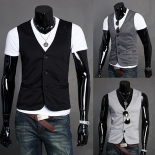 New Arrival Men Suit Vest Slim Casual Cotton Vests Men's Fitted Leisure Waistcoat Casual Business Jacket Tops Three Buttons
