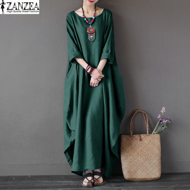 Plus Size ZANZEA Vintage Womens 3/4 Sleeve O-Neck Kaftan Solid Loose Beach Robe Vestido Casual Party Maxi Long Dress 2018