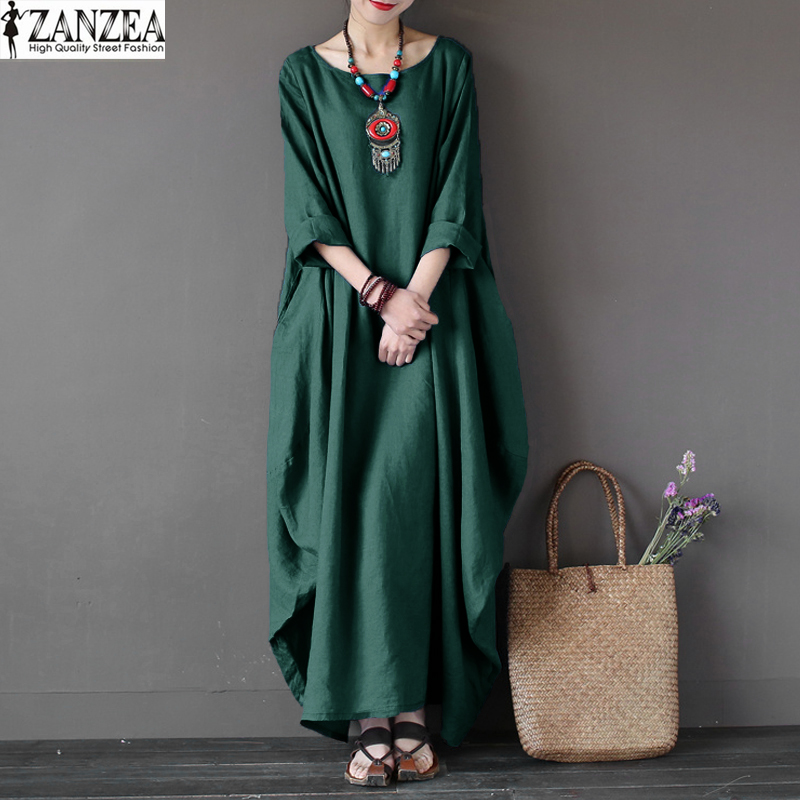Plus Size ZANZEA Vintage Womens 3/4 Sleeve O-Neck Kaftan Solid Loose Beach Robe Vestido Casual Party Maxi Long Dress 2018