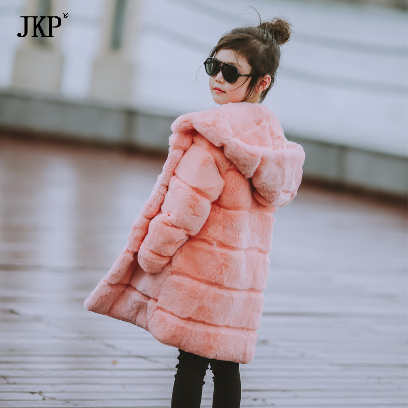JKP 2018 New winter really rex rabbit fur girl coat fashion Warm Clothes beautiful Thick Outerwear of children Jackets CT-21 winter kids rex rabbit fur coats children warm girls rabbit fur jackets fashion thick outerwear clothes