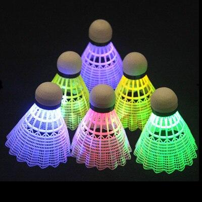 4 шт. Темная ночь светодиодный светящиеся Light-up нейлон бадминтон Воланы Птички дома и спорта на открытом воздухе деятельности