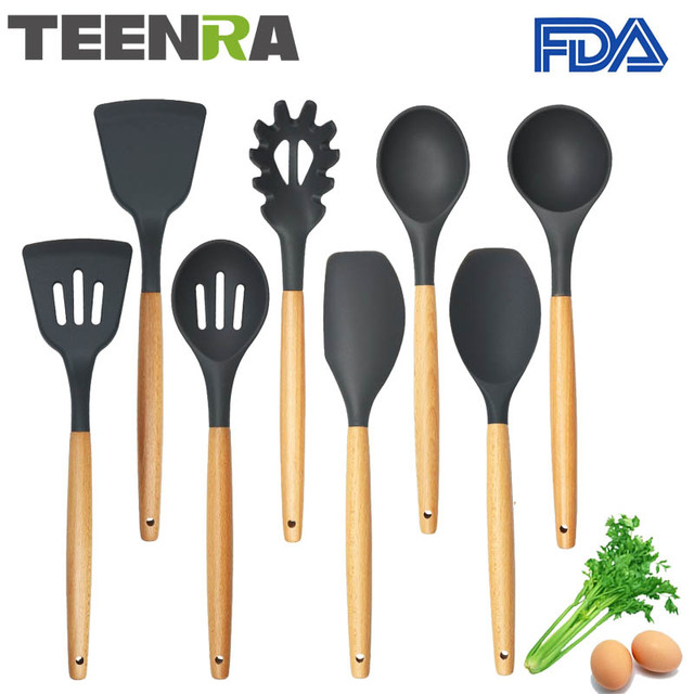 High Quality TEENRA 8Pcs Food Grade Silicone Kitchen Utensils Set Non Stick Cooking  Tools Silicone Utensil Set