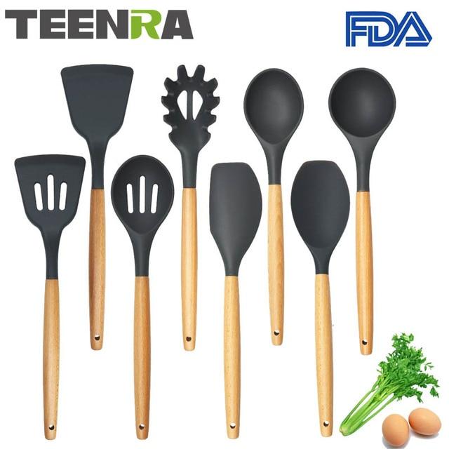 kitchen utensil sets installing countertop teenra 8pcs food grade silicone utensils set non stick cooking tools