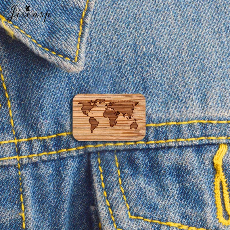 World Map Brooch World Map Pin Map Brooch Eco Friendly Jewelry Bamboo Jewellery Wood Brooch Wood Pin Sustainable Jewelry Laser Engraved Map