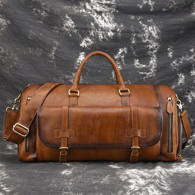 Johnature 2020 New Genuine Leather Vintage Large Capacity Solid Travel Totes Men Travel Bags Duffle Bag Handbags&Crossbody Bags 2