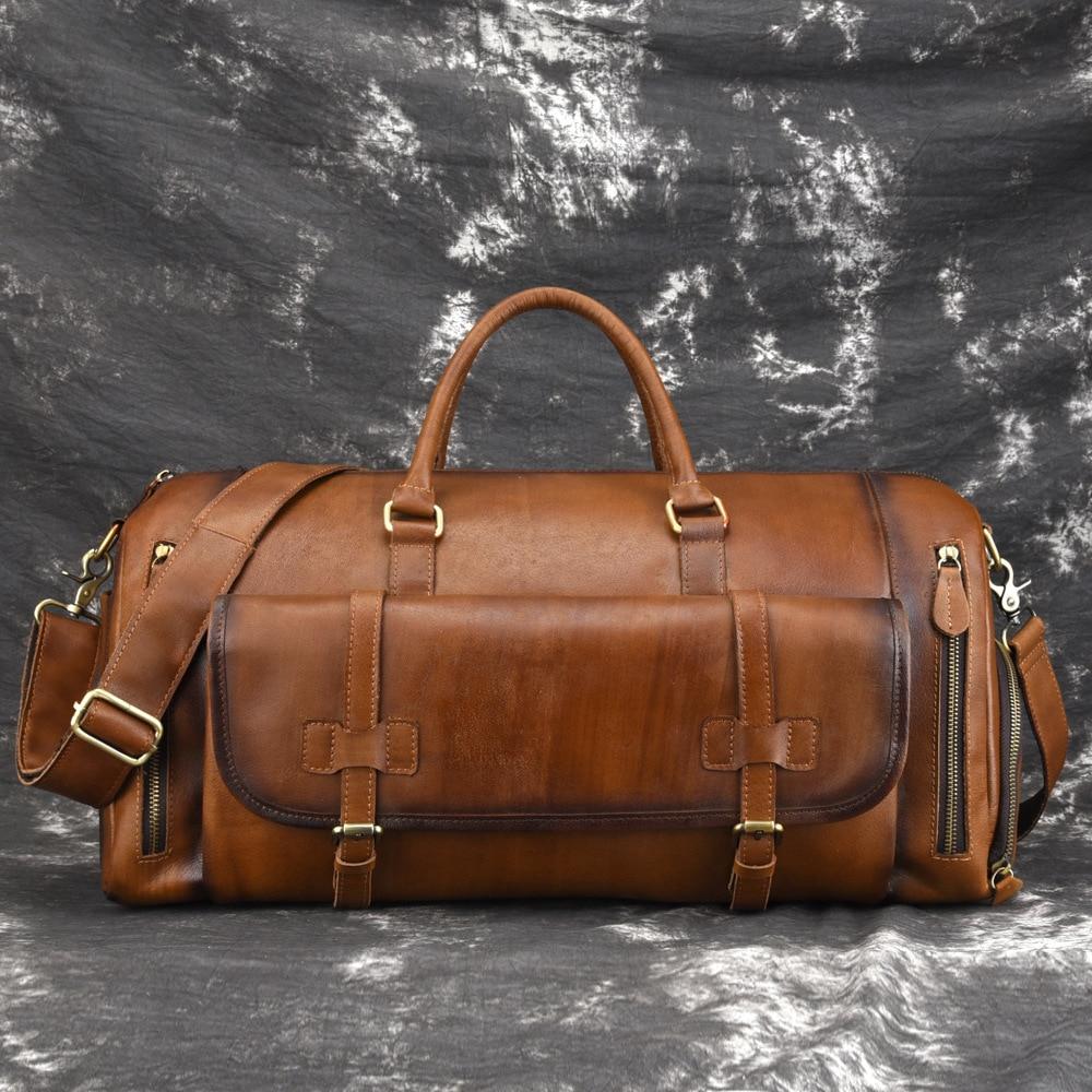 Genuine Leather Vintage Large Capacity Solid Travel Totes Men Travel Bags Duffle Bag Handbags&Crossbody Bags
